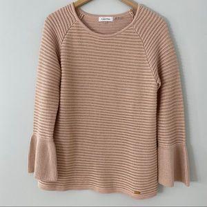 Calvin Klein Rose Gold Bell Sleeve Sweater